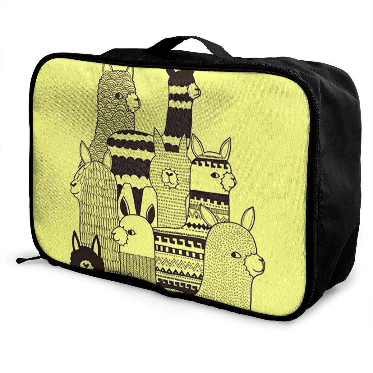 Portable Luggage Duffel Bag Llama Family Travel Bags Carry-on In Trolley Handle