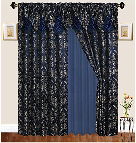 Traditional Jacquard Curtain Drape Set 2 Panels 63 Inch Long, Includes attached Valance, Sheer Backing, 2 Tassels, Damask Floral Pattern Drape for Living and dining rooms, EM439-63, Navy Dark Blue