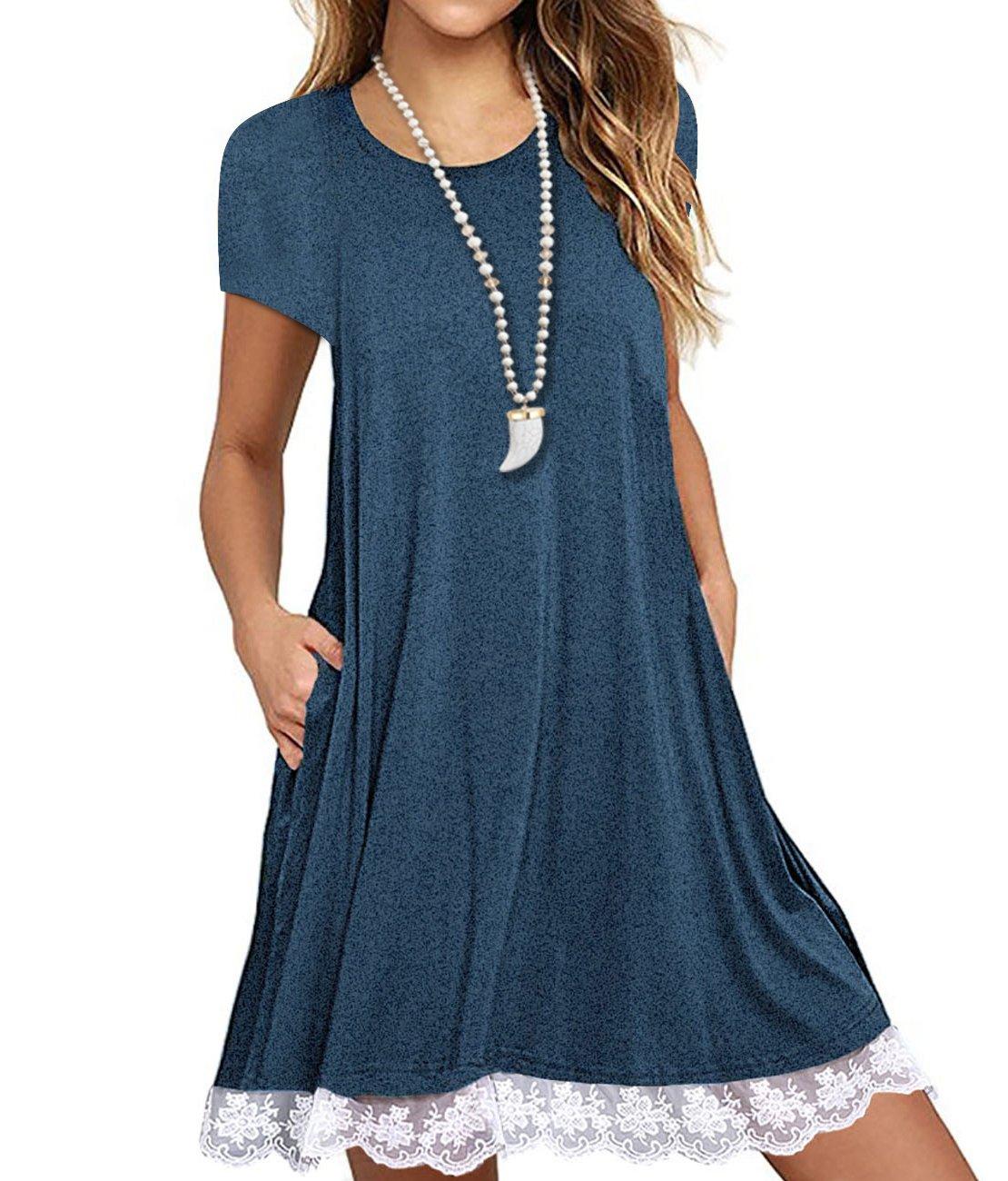 SHFZ Women's Short Sleeve T Shirt Dress Plus Size Summer Lace Tunic Dress with Pockets (XX-Large, Blue)