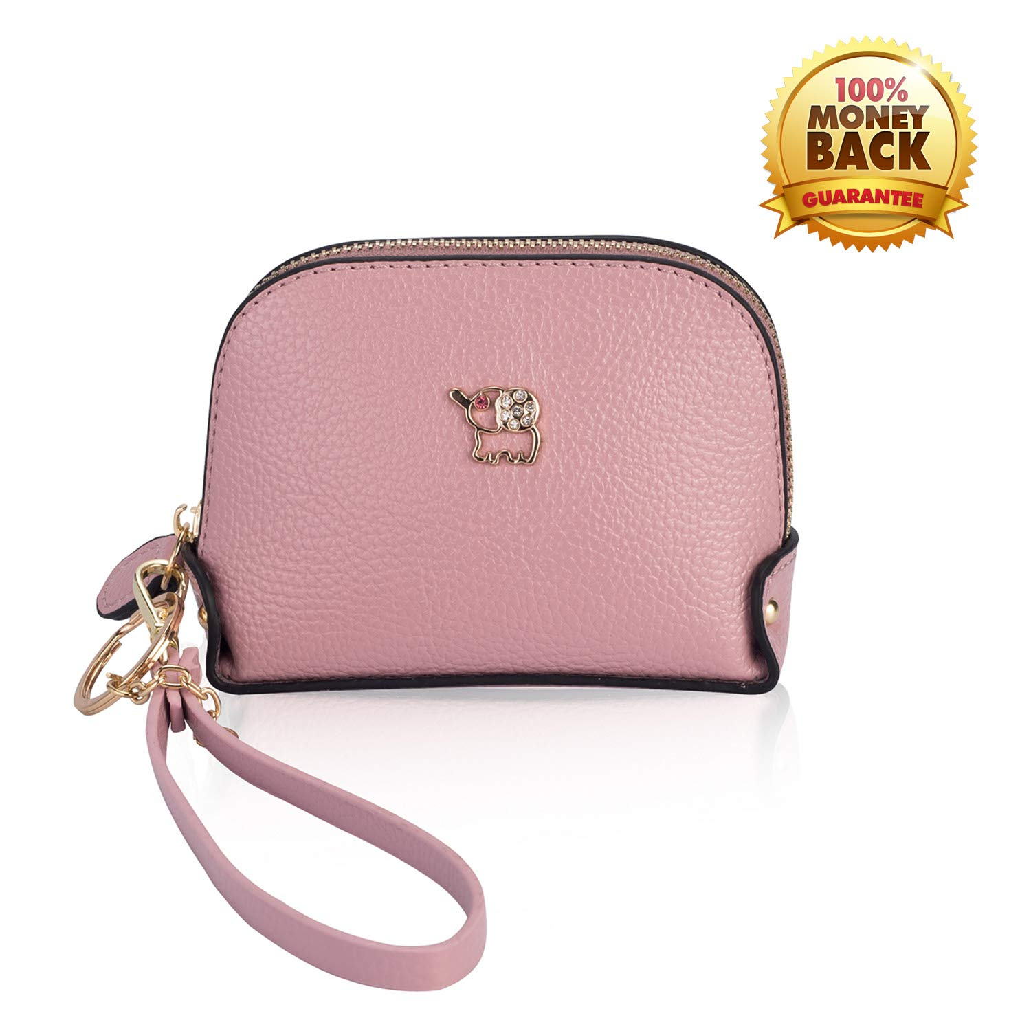 Coin Purse Wallet leather Wristlet Handbags with Wrist Strap Cute Mini Designer Pouch Great Gifts for Women Girls(Elephant Pink) by JZE (Image #1)
