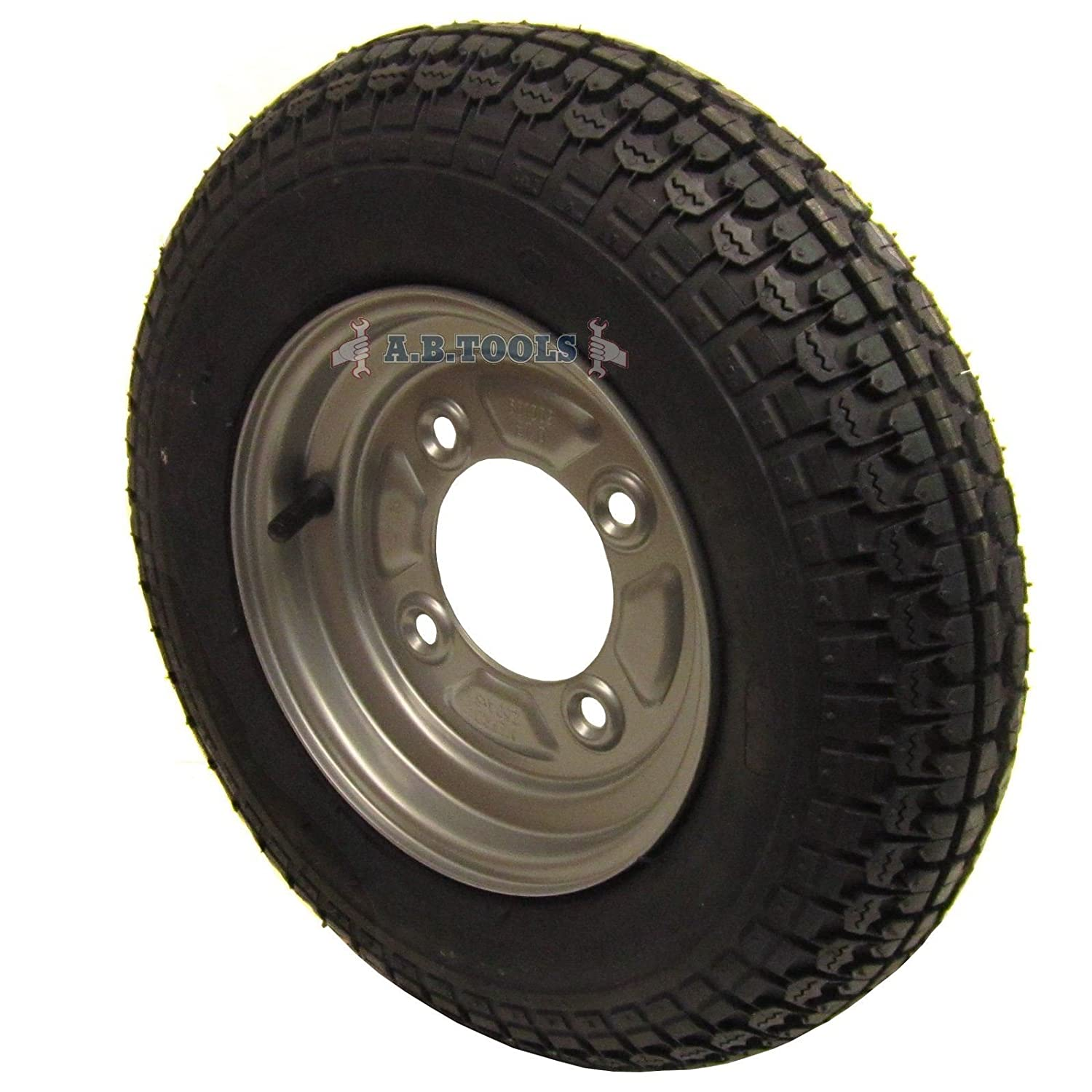 Trailer Wheel & Tyre 3.50-8 with 115mm PCD for Erde, Daxara 4 PLY TRSP12 AB Tools
