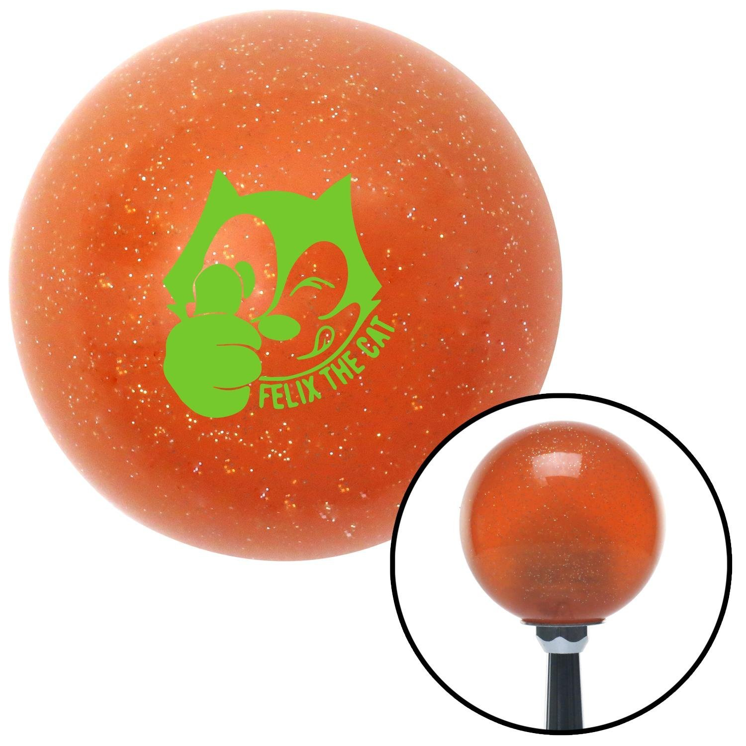 American Shifter 46032 Orange Metal Flake Shift Knob with 16mm x 1.5 Insert Green Felix The Cat Thumbs Up