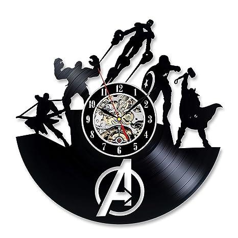 Meet Beauty Wow!2018 Fresco Avengers Superhéroes Reloj de Pared de Vinilo Vintage Reloj de