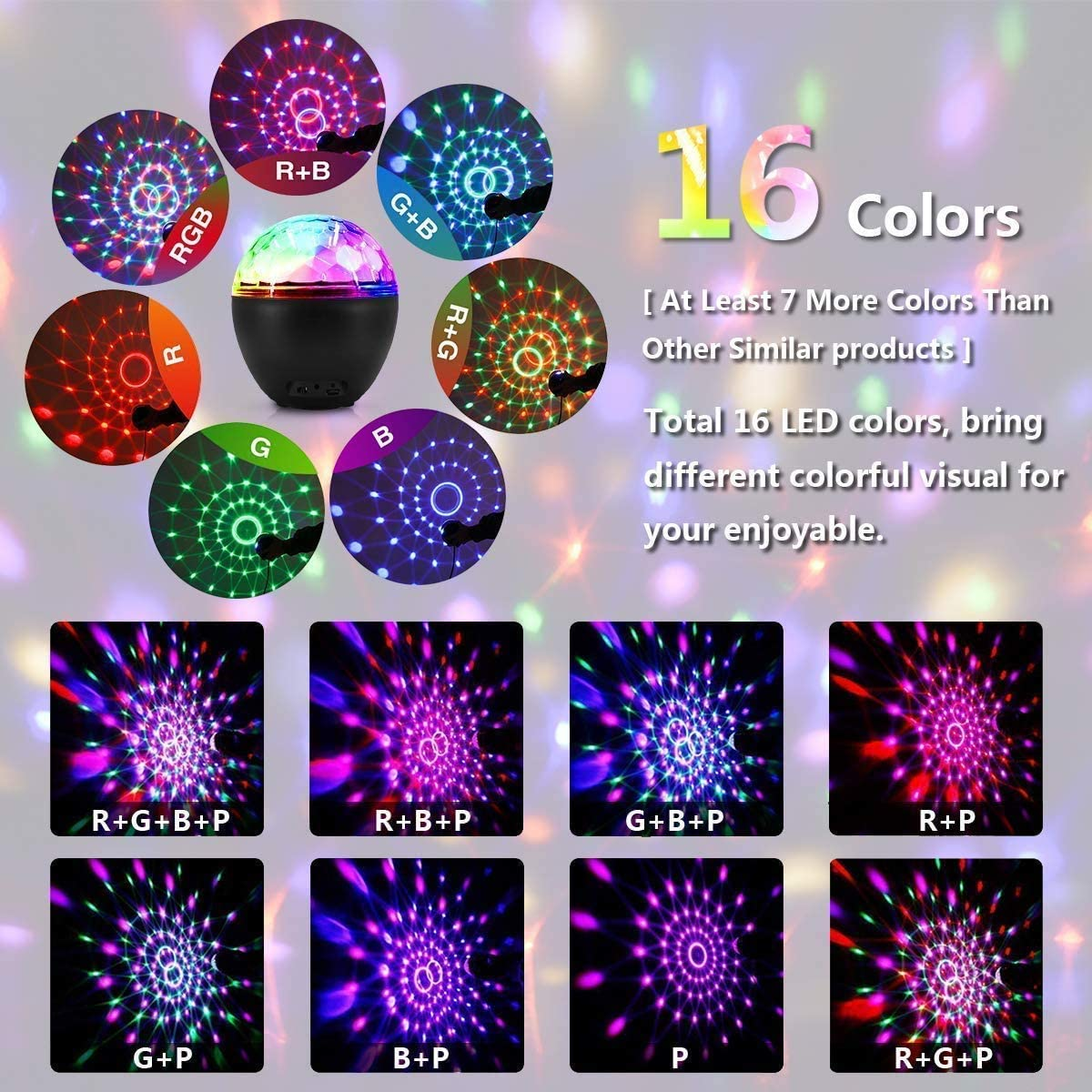 USB Rechargeable Powered with Remote Control Dj Lights Stage Light,for Kids Birthday Home Room Parties Wedding Show Club Pub 16 Color Party Lights Disco Ball