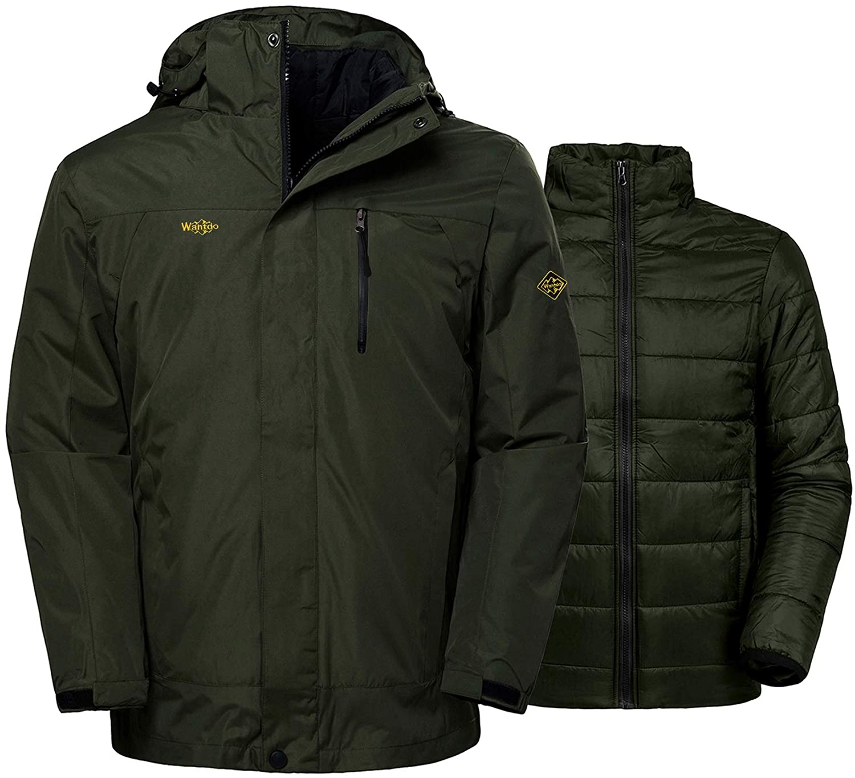 6c2ab2dc203 Amazon.com  Wantdo Men s Interchange 3 in 1 Ski Jacket Windproof Warm Parka  Waterproof Winter Coat with Detachable Puffer Liner  Clothing