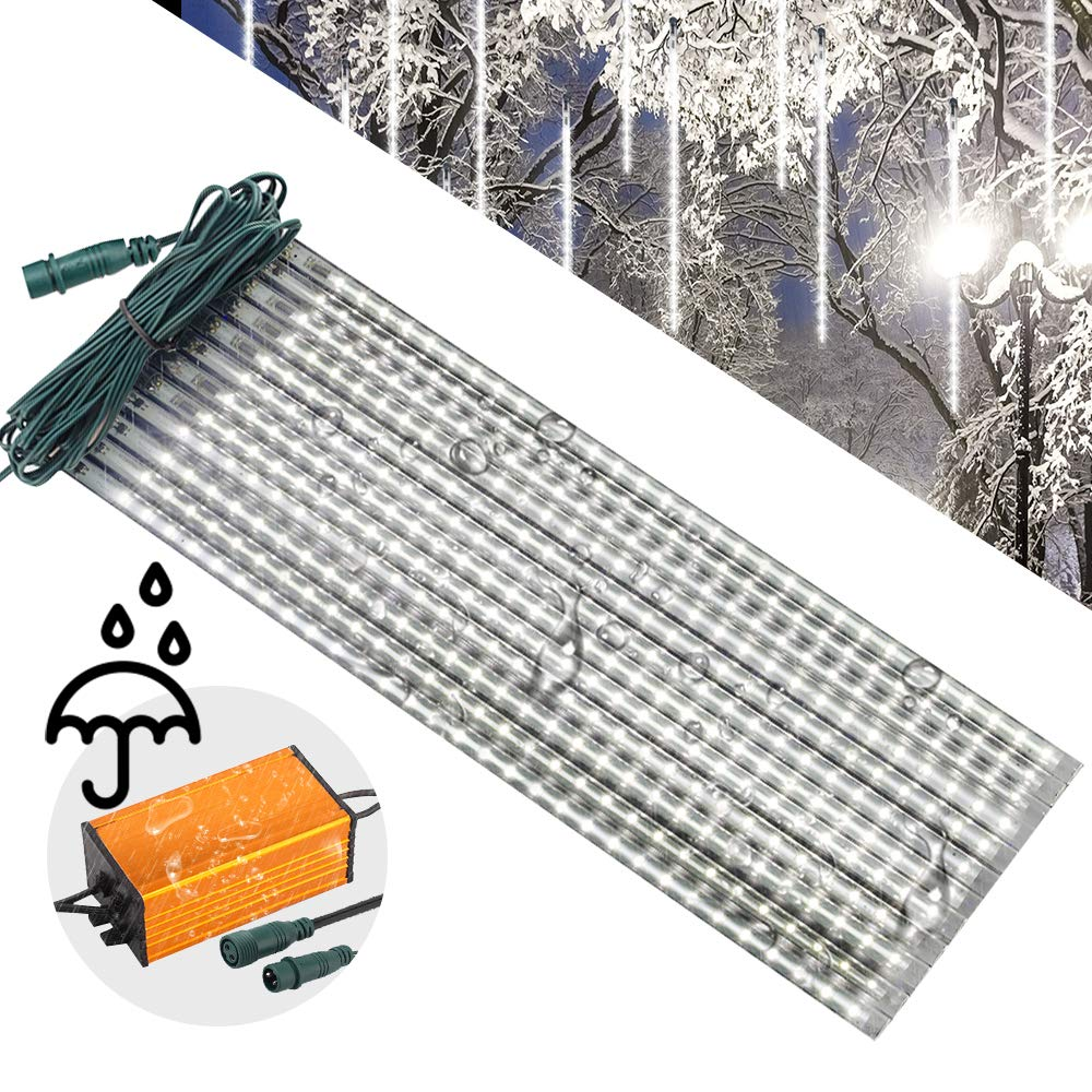 LEDJump 20 Inches/50cm 720 Lights Snowfall 16FT Wire Extension Waterproof Transformer LED Lights Outdoor Double Sided, Set of 12 Meteor Shower Rain Drop Tree Decor Icicle Landscape (Snow White)