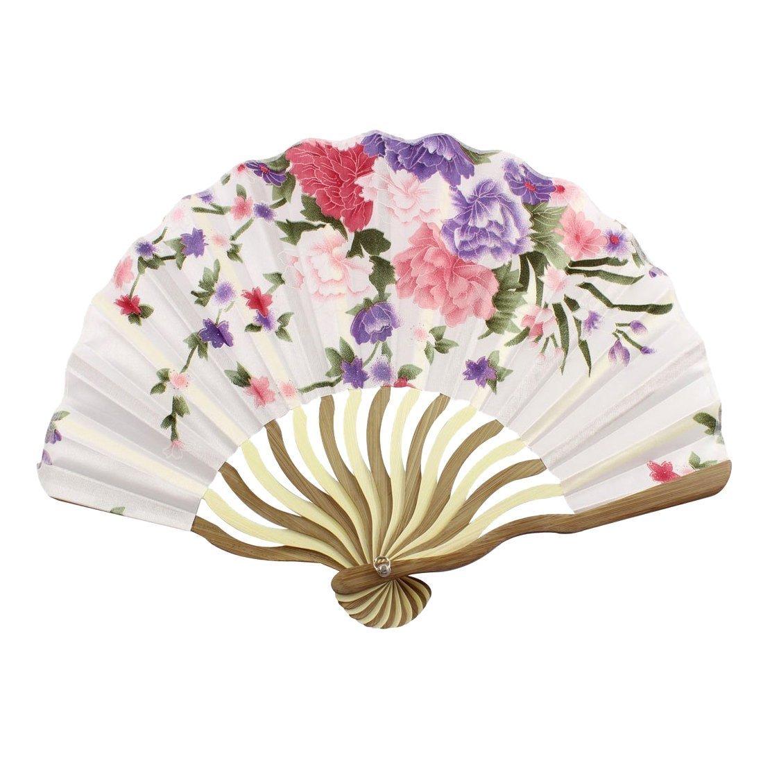 Amazon.com: Delicate Cherry Blossom Design Silk Folding Fan Favors ...