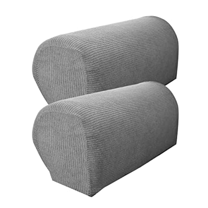 B Blesiya Set Of 2 Non Slip Stretch Furniture Armrest Cover Protector Fits Square Curved Armchair Recliner Chair Arm Sofa Light Grey