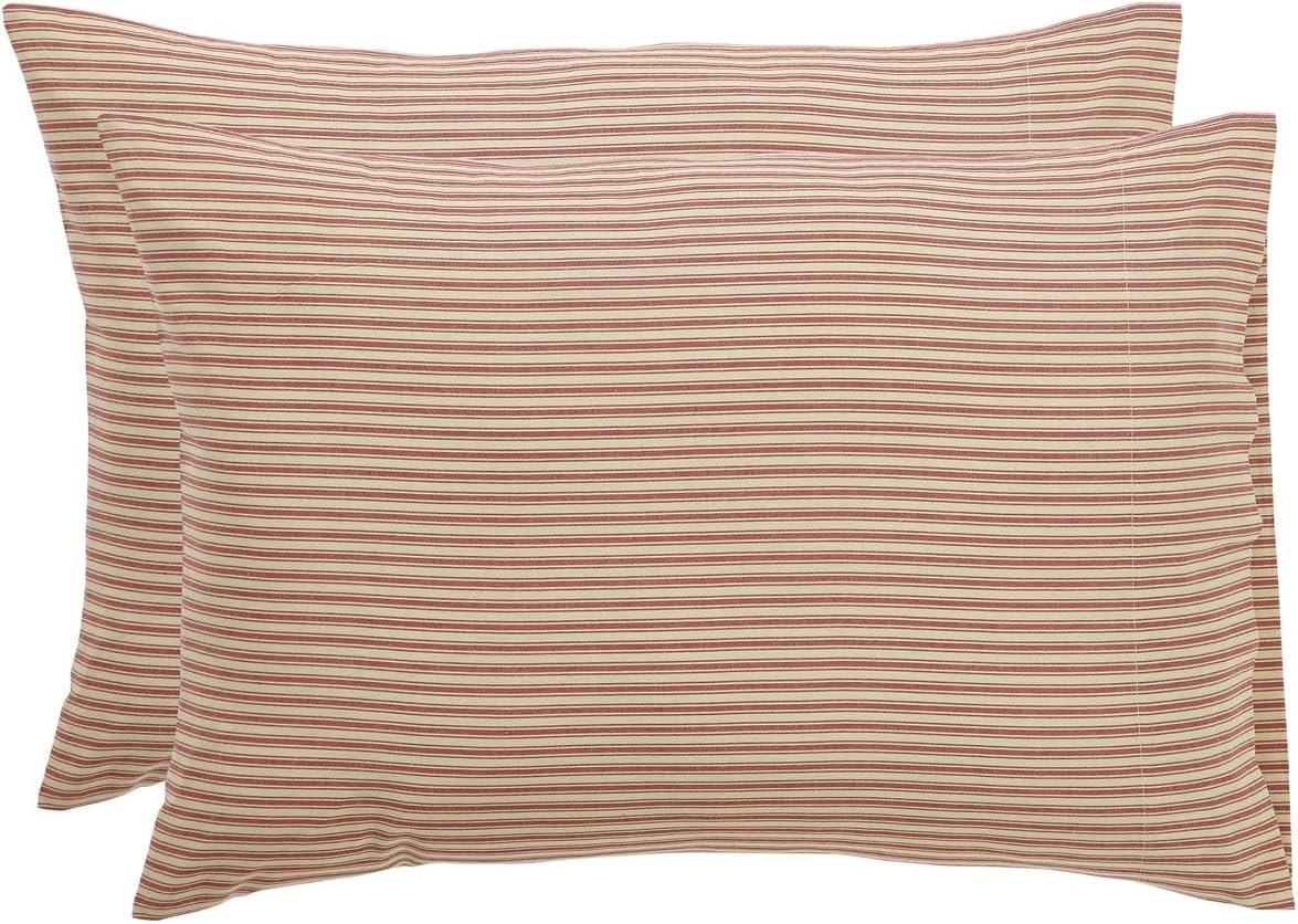 VHC Brands Farmhouse Bedding Wilder Ticking Cotton Striped Pillow Case Set of 2, Standard, Parchment White