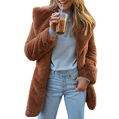 BerryGo Women's Shaggy Faux Fur Coat Long Sleeve Thick Jacket Outwear with Pocket at Women's Coats Shop