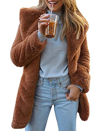 caee2ffadb99 BerryGo Women's Shaggy Faux Fur Coat Long Sleeve Thick Jacket Outwear with  Pocket Camel,S