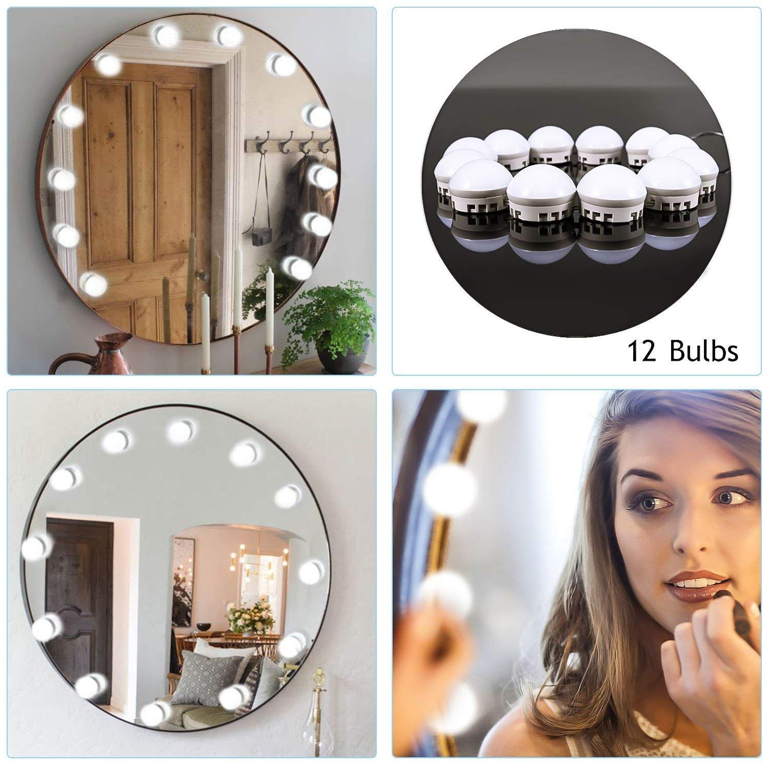 Wonstart Hollywood Mirror Lights Kit de lampes de miroir à LED Vanity Set de miroirs avec 12 ampoules à intensité variable, bande de luminaire pour l'ensemble de coiffeuse de maquillage (miroir non inclus WDP12001