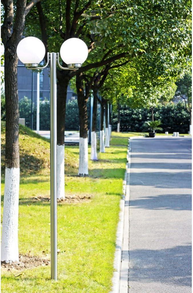 Festnight Gartenlampe Gartenleuchte Gartenlaterne Stra/ßenlaterne 2 Flammig 220cm H/öhe Edelstahl Stra/ßenleuchte E27 Fassung