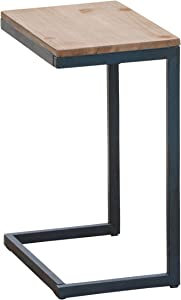 Christopher Knight Home Kora Outdoor Firwood C-Shaped Accent Table, Antique / Black With Blue