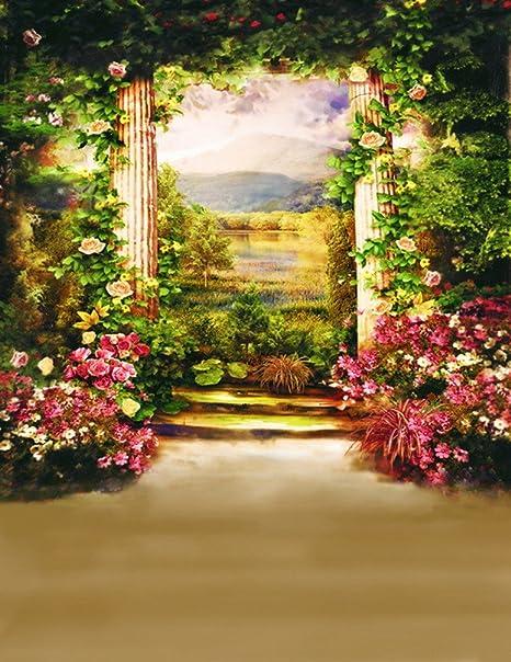 A.Monamour Misteriosa Flor Árboles Jardín Corona Arco Pilar para Boda Escena Pared Mural Decoración Estudio Fotografía Fondos Vinilo: Amazon.es: Electrónica