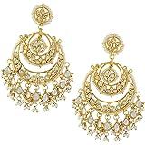Jewellity Kundan Double Chandbalis With Kundan And Pearl Droppings Golden Wedding Designer Earrings For Women ERK-511