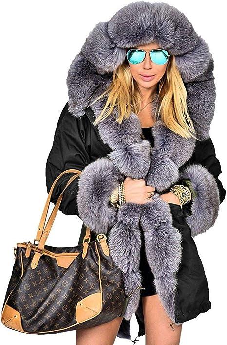 Manteau d'hiver en Fausse Fourrure pour Femme Chaud Long