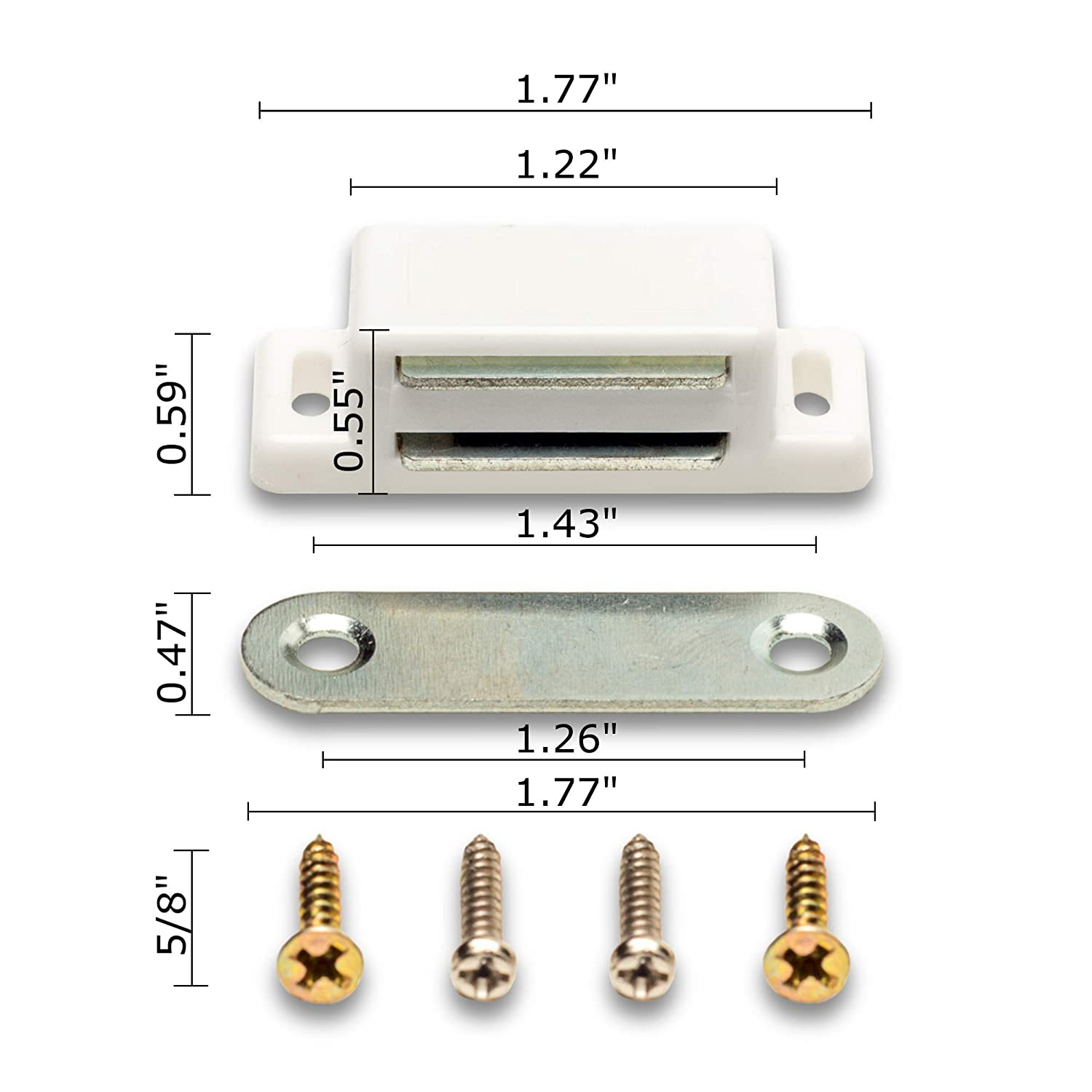 Cabinet Magnet Latch 10 Pack Best for Closure of A Drawer Easy Install White Cupboard and Kitchen Cabinet Hardware Screws Included Shutter Keep Your Doors Shut with Our Magnetic Catches