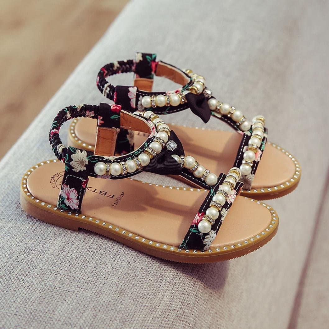 Toddler Baby Girls Kids/Bowknot Pearl Pu Leather Flat Sandals Roman Princess Summer Shoes