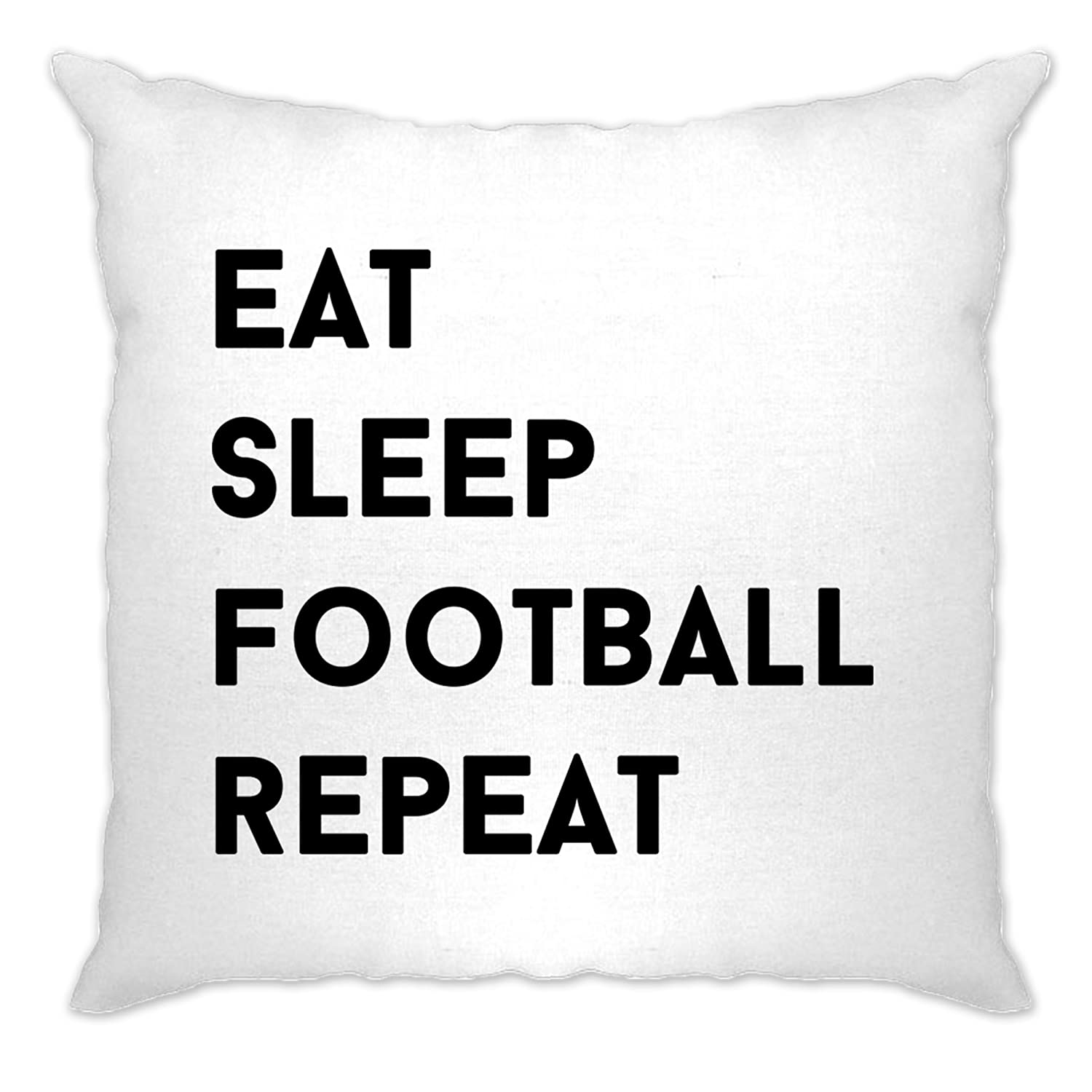 Tim And Ted Sports Cushion Cover Eat Sleep Football Repeat Slogan Natural One Size