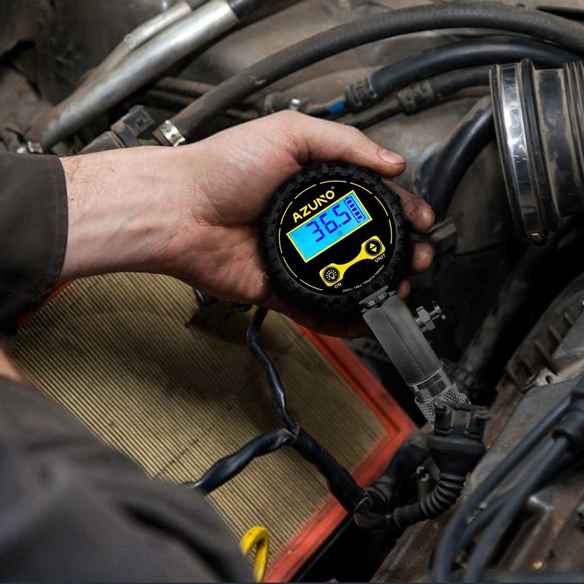 AZUNO Compression Tester Automotive Digital Compression Gauge 200 PSI for Petrol Engine Small Engine Cylinder Compression Tester Kit with Adapter /& Hose