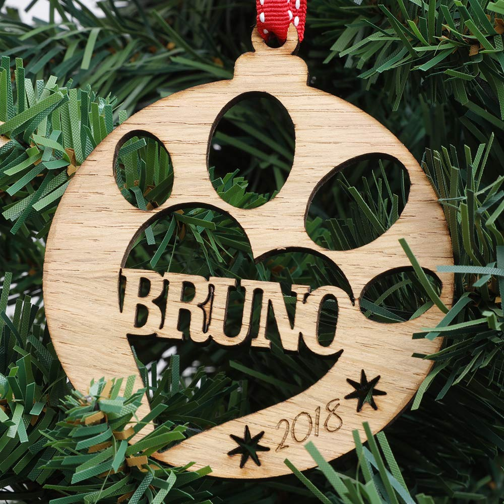 Personalised Wooden Pet Bauble Christmas Tree Decoration Paw Amazon