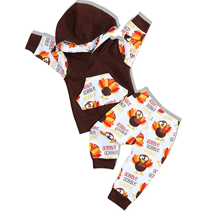 f341f4d3f Baby Thanksgiving Outfit Newborn Boy Girl Letter Print Romper Turkey Print  Pant with Hat Clothes Set ...
