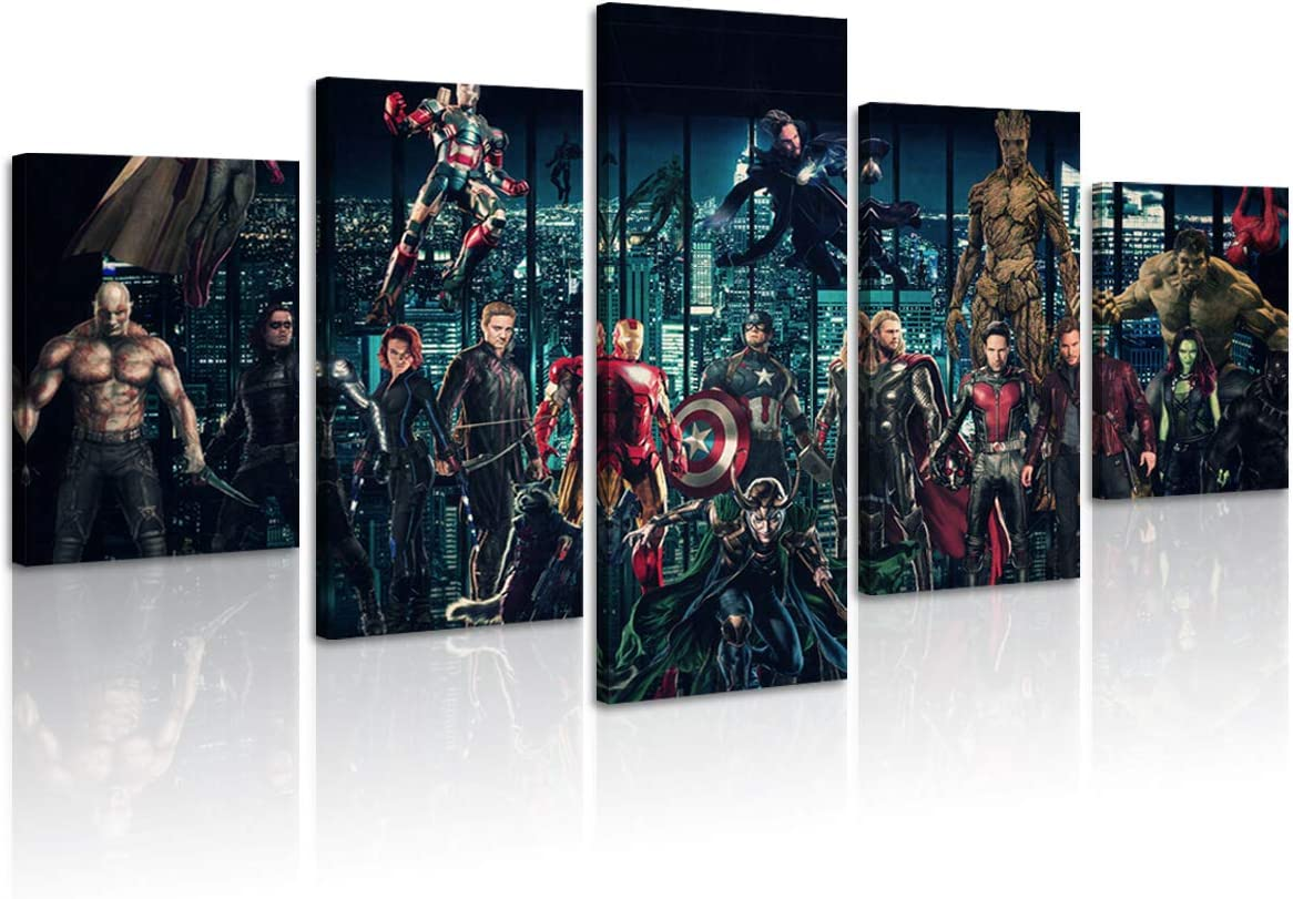 FUNHUA 5 Panel Marvel The Avengers Canvas Painting Super Hero Pictures Art Prints Framed Ready to Hang for Home Large Wall Decor (Framed)
