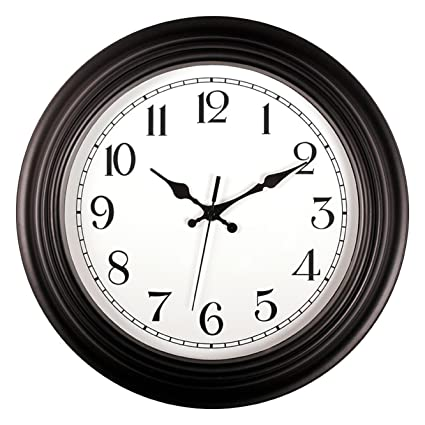 Elegant Foxtop Large Black Wall Clock, 14 Inch Silent Non Ticking Decorative Wall  Clock Battery Operated