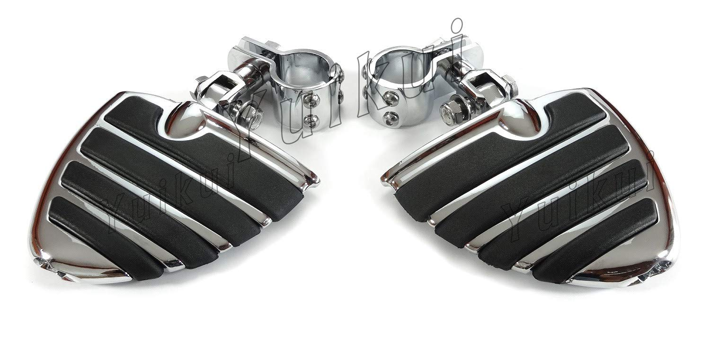 YUIKUI RACING オートバイ汎用 1-1/4インチ(32mm)/1インチ(25.4mm)エンジンガードのパイプ径に対応 ハイウェイフットペグ タンデムペグ ステップ YAMAHA XVS DRAG STAR ROAD STAR/YAMAHA XV VIRAGO/RAIDER等適用  クローム B07PY5XP66