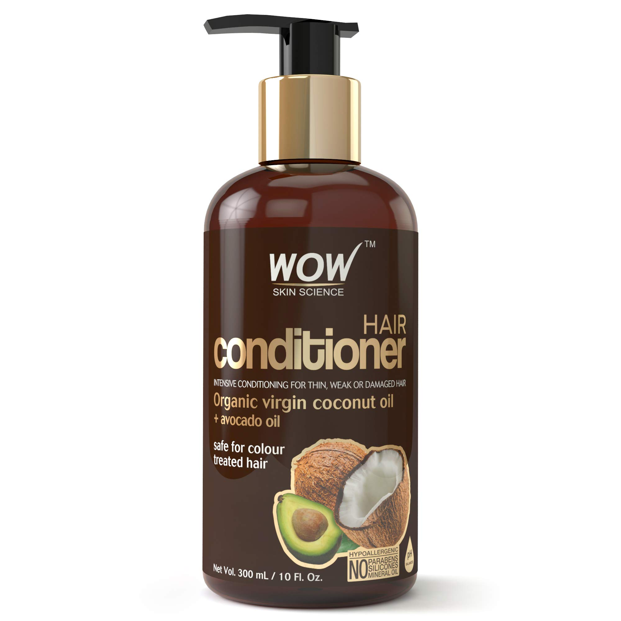 WOW Hair Conditioner - Deep Hair Conditioning for Dry Thin & Damaged Hair - Enriched with Coconut, Avocado Oil, Moroccan Argan Oil, Jojoba Oil - Vitamins B5 & E - Paraben and Sulfate Free - 10 Fl Oz by WOW Skin Science