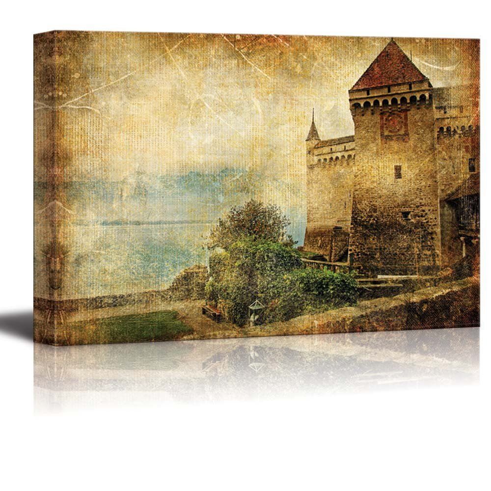 Swiss Castle Artwork in Painting Style Wall Decor ation - Canvas Art ...