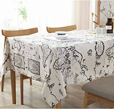World Map Tablecloth Linen Cotton Kitchen Tablecloths Cover for Picnic Party bA