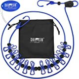 Chialstar 物干しロープ 弾力洗濯ロープ 携帯便利 12個クリップ付き 旅行/キャンプ/裏庭/ベランダなどの室内と室外に最適 (ブルー)