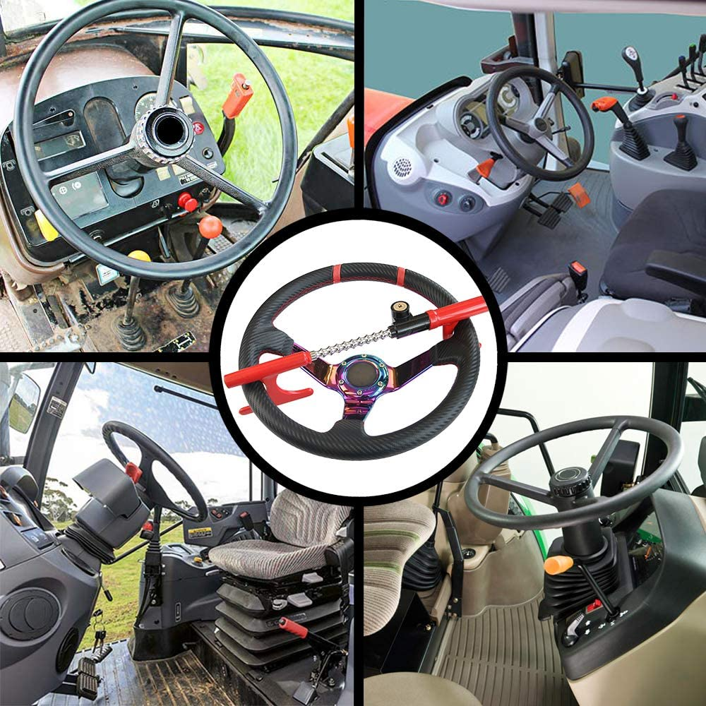 OKLEAD Anti-Theft Steering Wheel Lock Handbrake Lock Adjustable Twin Hooks Lock Security for Truck Car SUV