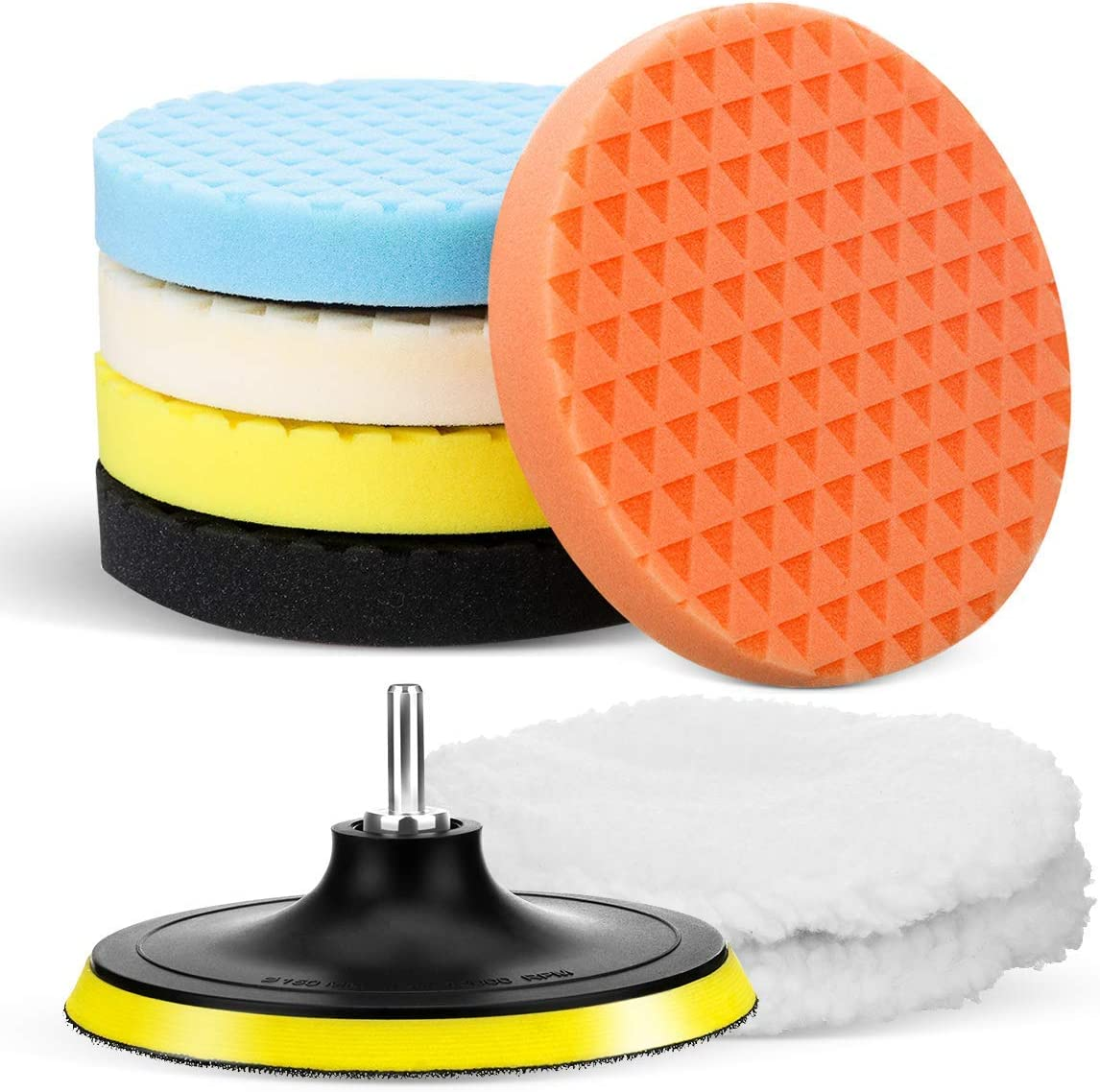 MATCC Drill Polishing Pads Kit 6 Inch Buffing Pads with Wool Bonnet Pads M14 Drill Adapter Waxing Buffing Pads Kit for Car Polisher Household Electric Drill for Matching Velcro Backing Pad 8Pcs