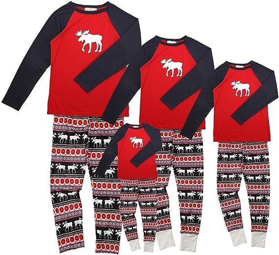Pijamas de Navidad Familia Conjunto Pantalon y Top Fiesta Manga Larga Trajes Navideños Reno Pijama Dos Piezas Mujer Hombre Niños Niña Ropa de Dormir ...