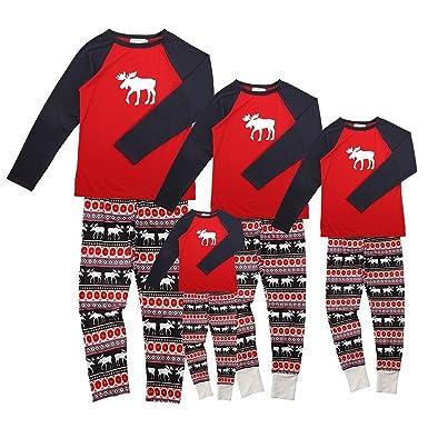 Aibrou Pijamas de Navidad Familia Conjunto Pantalon y Top Pijamas Mujer Hombre Invierno Manga Larga Pijama de Dormir 2 Piezas Ni/ños Ni/ña Ropa de Dormir para Beb/és Mam/á Pap/á Romper Homewear
