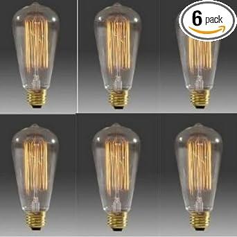 30 Watt Light Bulbs: 6 Pack -30 Watt Filament Long Life Edison Repoduction Light Bulbs,Lighting