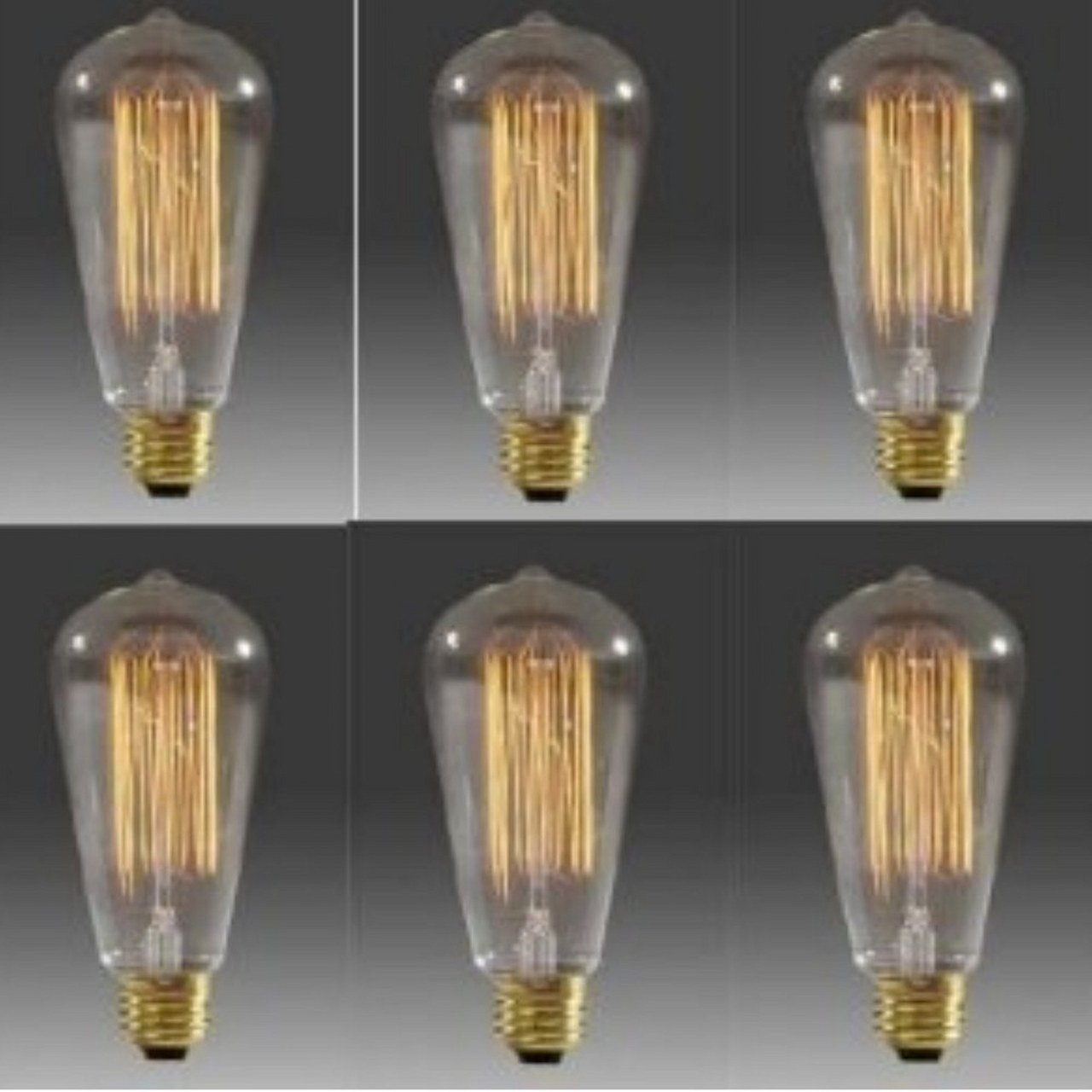 Better Efficiency 25 Watt Vintage Edison Style Squirrel Cage Light Bulb (Set of 6)