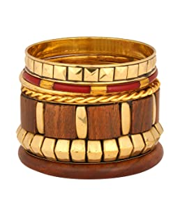 Zivom® Designer Wooden Antique 18K Gold Plated Wood Bangle Kada Set of 6 Girls Women Gift