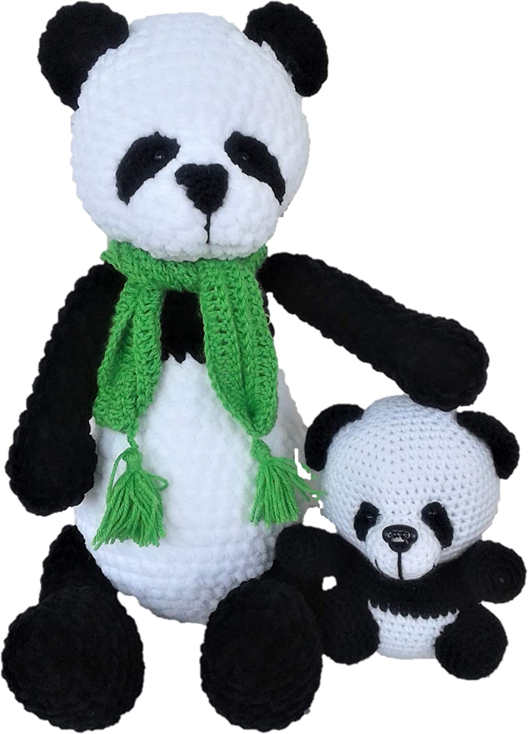 Knitted Toy Amigurumi Hand Knitted Teddy Bear Panda Bear is a Gift to a Child or Friend Teddy Bears. Soft Plush Panda with a Bear
