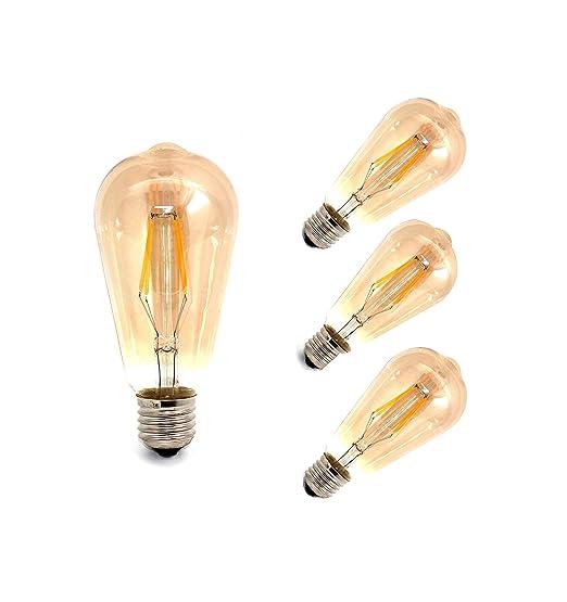 LED 4X4W E27 Bombillas Filamento, Paquete de 4 Unidades Iluminación Vintage, 4 Bombillas LED