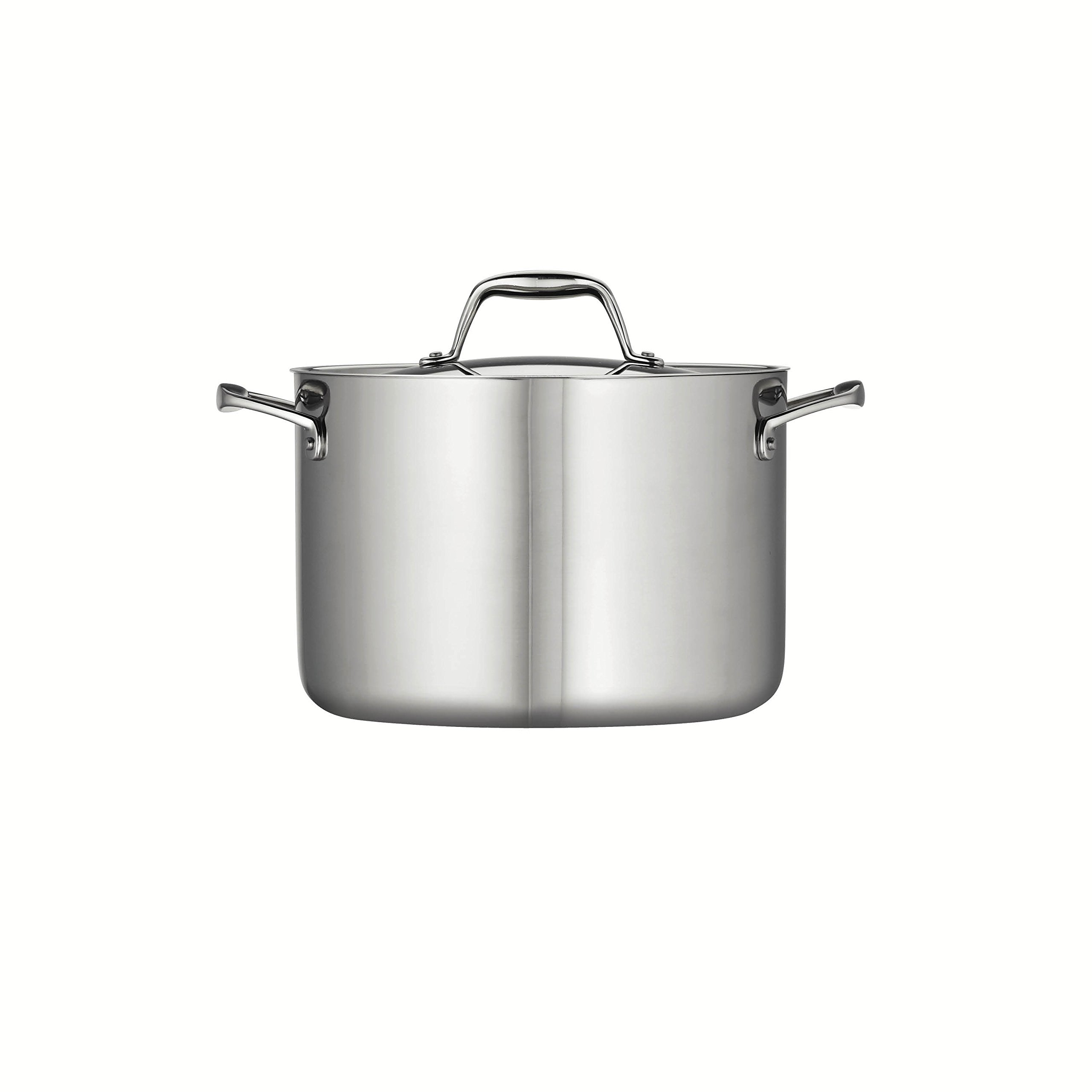 Tramontina 80116/041DS Gourmet 18/10 Stainless Steel Induction-Ready Tri-Ply Clad Covered Stock Pot, 8-Quart, NSF-Certified, Made in Brazil by Tramontina (Image #2)