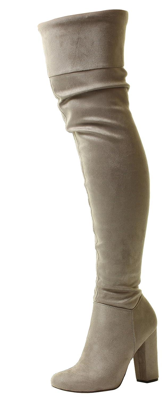Nuevo Señoras Mujeres Pirata Sobre la rodilla Amplio En forma Estirarse  Gamuza Alto Tacón Botas envío 7df8aec9de15d
