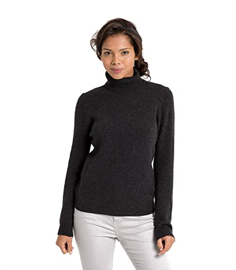 Woolovers Womens Lambswool Polo Neck Roll Neck Chunky Knitted Long Sleeve  Sweater 6-20 Charcoal b4d01f0fc20b