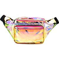 SoJourner Holographic Rave Fanny Pack - Packs for festival women, men | Cute Fashion Waist Bag Belt Bags (Gold & Pink Transparent)