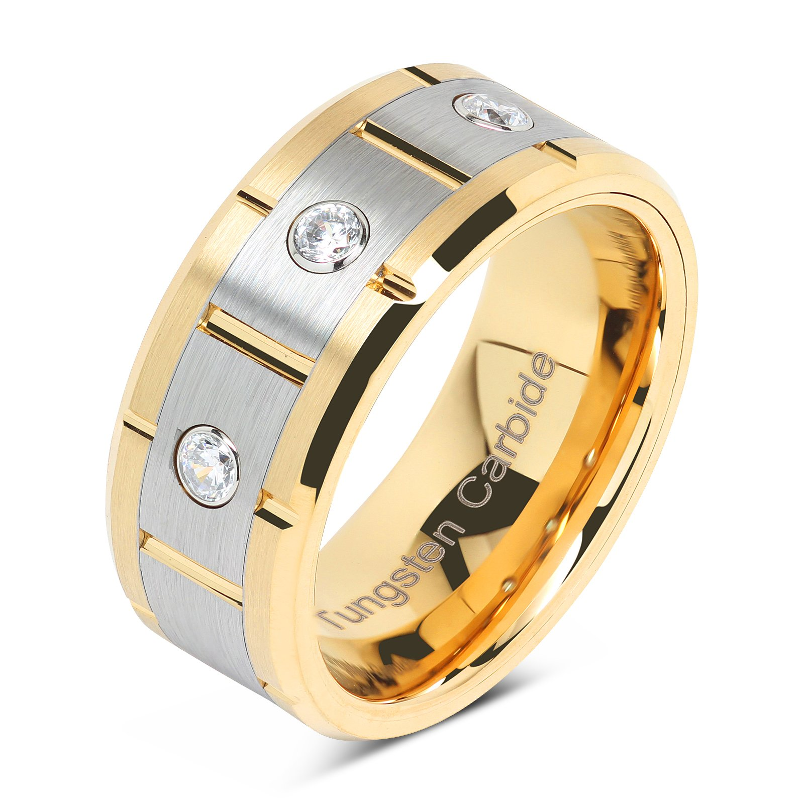 100S JEWELRY Tungsten Rings For Men Women 14k Gold & Silver Center Brushed CZ Inlaid Grooved Size 8-16 (15)