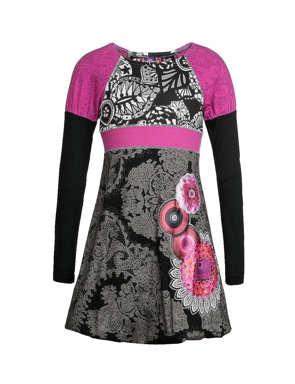 Desigual VEST_YAUNDÉ - Vestido para niñas, color negro 2000, talla 11/12 años (152 cm): Amazon.es: Ropa y accesorios