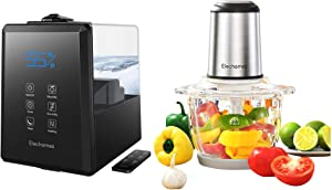 Elechomes UC5501 6L Warm & Cool Mist Humidifier and Elechomes 8 Cup Electric Food Chopper & Processor Bundle